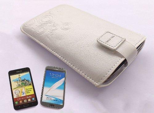 handy-point XXL Grosse Tasche Smartphone / Handy mit Gürtelschlaufe passend für Samsung Galaxy Note 1, N7000 / Note 2, Note 3, Sony z3, Z5, Weiss, Weiß, Hülle, Handytasche, Handyhülle, Schutzhülle, Sc