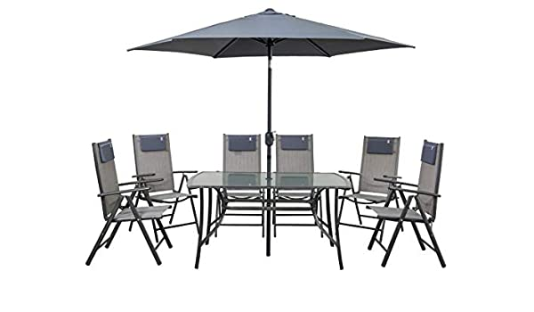 newgarden Juego de Mesa y sillas de jard/ín de Resina y sombrilla Rio Set