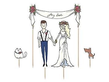 Cake Topper Brautpaar Blumen Tiere Deko Hochzeitstorte Tortenstecker