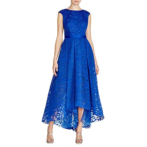 JS Collections Womens Pleated Lace Evening Dress Blue 12 ()