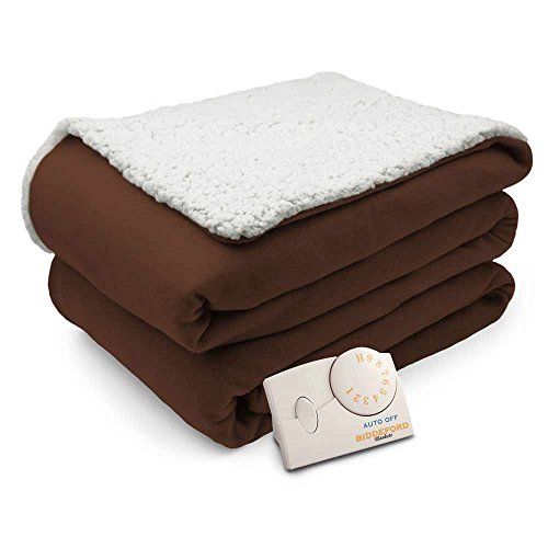 Biddeford Comfort Knit Natural Sherpa Electric Heated Blanket Twin ()