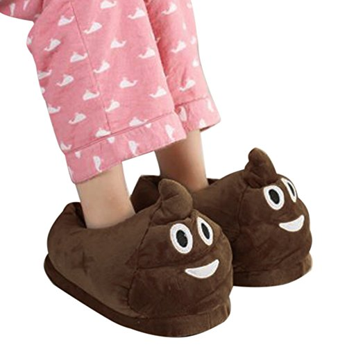 Poo Cartoon Emoticon Slippers, Unisex Stuffed Plush Warm Shoe for Winter by KimGreen