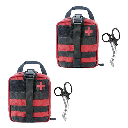 Compact Tactical MOLLE Rip-Away EMT Medical First Aid Utility Pouch 1000D Nylon Carlebben (Red with First Aid Patch(2 ()