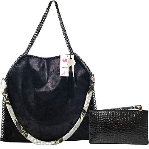 Donalworld Women Chain Paillette Casual Tote PU Leather Shoulder Bag Purse L ()