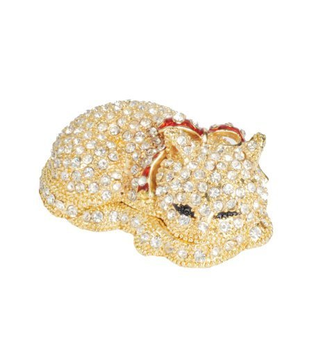 Lilly Rocket Collectible Box with Rhinestone Bejeweled Swarovski Crystals - Sleeping Cat