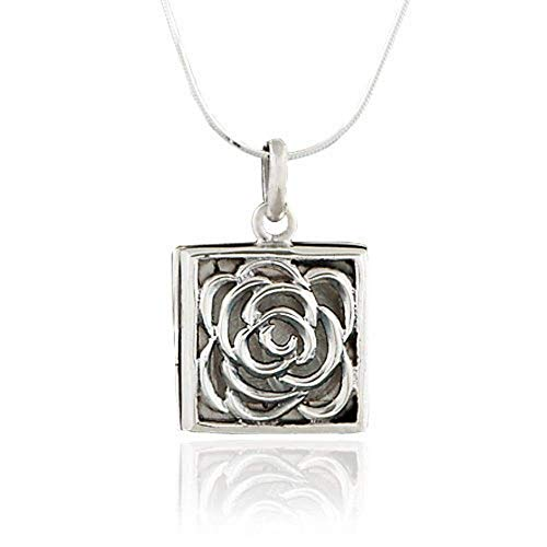 - 925 Oxidized Sterling Silver Rose Square Locket Pendant Necklace, 18 inch Snake Chain