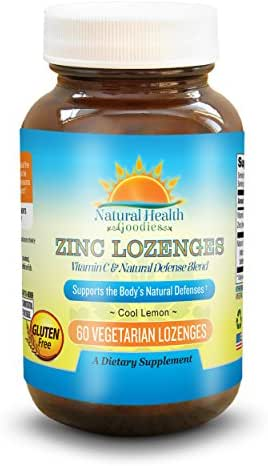 Zinc Lozenge with Vitamin C for Immune Support - 60 Easy Dissolve Chewable Zn Gluconate Tablets from Natural Health Goodies