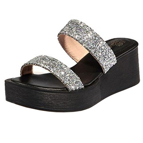 COOLCEPT Women Fashion Glitter Mules Open Toe Sandals Wedge Heel Shoes Silver q2tht