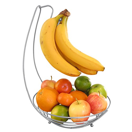 Evelots Countertop Fruit Tree Basket Bowl Stand W/Banana Hanger, Silver