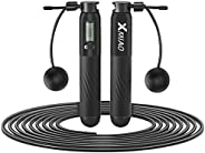XMIAO Jump Rope, Weighted Skipping Rope with Calorie Counter, Adjustable Cordless Jumping Rope with Ball Beari