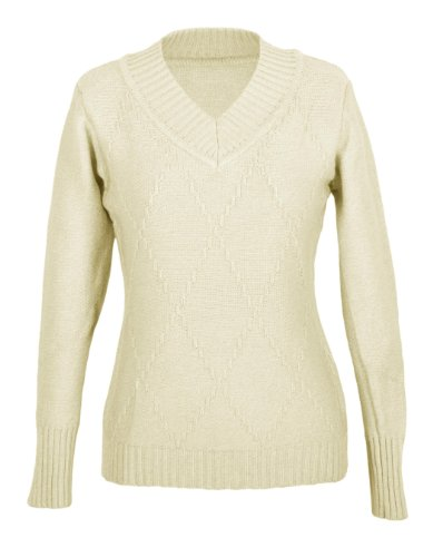 G2 Chic Women's Ribbed Diamond Knit V-Neck Sweater(TOP-SWT,WHT-SMALL)