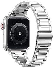 TOWOND Rem kompatibel med Apple Watch serie 6/SE/5/4/3/2/1, massivt rostfritt stål metallarmband unik poleringsprocess business ersättningsband med hållbart vikbart lås för iWatch