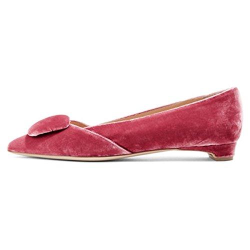 Fsj Donne Comode Scarpe Tacco Basso Scarpe A Punta Scarpe Con Fibbia Slip On Office Dress Shoes Size 4-15 Us Red