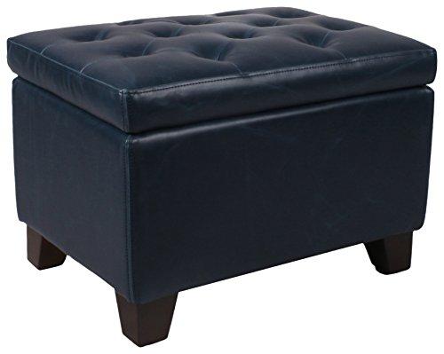 (New Pacific Direct 194424B-V05 Julian Rectangular Bonded Leather Storage Ottoman Furniture, Vintage Blue)