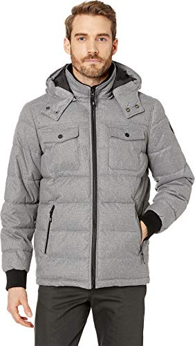 Kenneth Cole New York Men's Nylon Hooded Puffer Spill Grey Small ()