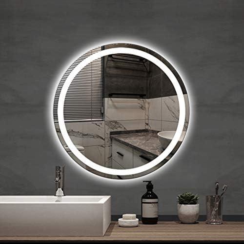 LED壁掛け化粧鏡、ライト付き丸型タッチセンシティブ浴室鏡-シンプルでモダンな化粧鏡-シェービング化粧品用