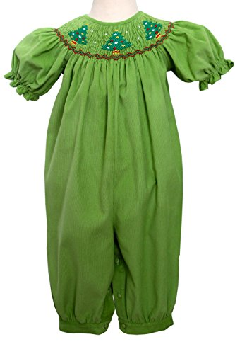 Carouselwear Jolly Holiday Baby Girls Long Bubble with Smocked Christmas Trees