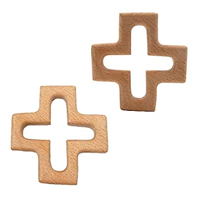 Alenybeby 10pcs Infant Baby Teething Toys Handmade Beech Wooden Cross Shape Teether DIY Crafts Pendant Chewable Accessories (10 pcs): Toys & Games