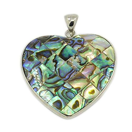 B.D craft 1pcs Abalone/Paua Shell Heart Pendants with Brass Findings Double-Sided Colorful Mosaic Patterns & Platinum Toned Dangle Charms, Jewelry Making Findings, 44x41mm