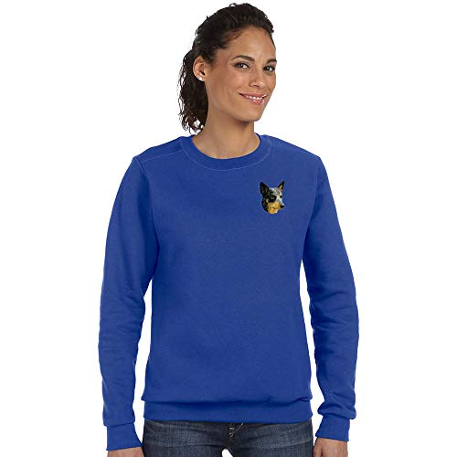 Cherrybrook Breed Embroidered Anvil Ladies Crew Sweatshirt - Medium - Royal Blue - Australian Cattle Dog