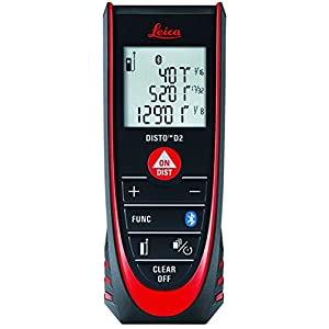 Leica DISTO D2 New 330ft Laser Distance Measure with Bluetooth 4.0, Black/Red