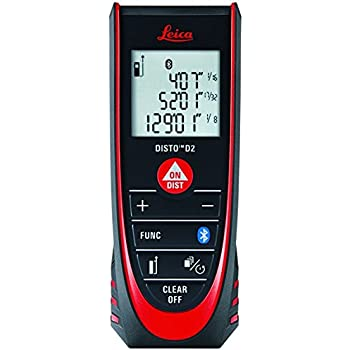 Leica DISTO D2 New 330ft Laser Distance Measure with Bluetooth 4 0,  Black/Red