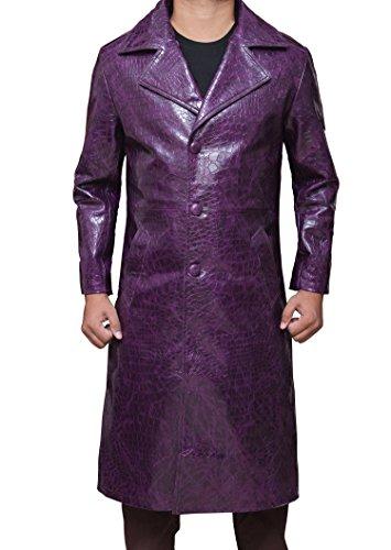 Joker Coat Costume Trench Leather - Cosplay Leather Coat PU   Purple, (Joker Costume Hoodie)