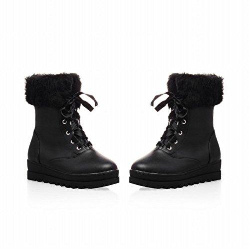 Calf Manschette Carol Damen Concise Mid Shoes Boots Snow Kunstfell Schwarz BFqqAUIZY