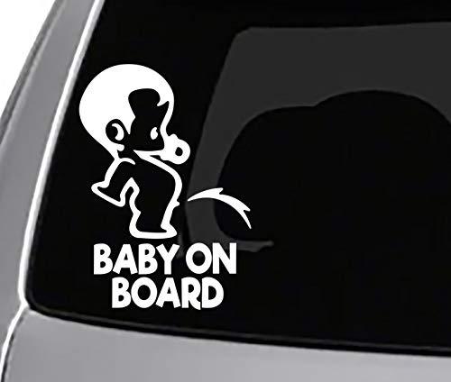 Seek Racing Baby ON Board Peeing Decal CAR Truck Window Bumper Sticker Funny Joke Parents Kids