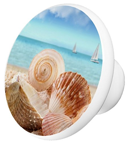 Seashells and Sailboats Ceramic Cabinet Drawer Knob ()