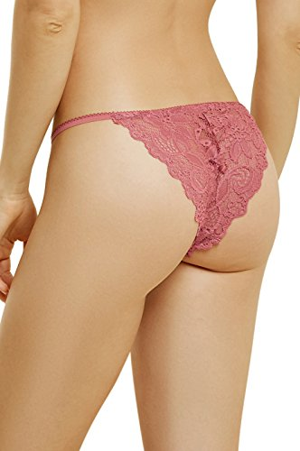 1259634e7d3 Women's Lace String Bikini with Scalloped Edge and Floral Lace (S, ...
