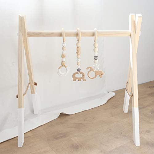 Baby Play Gym Wooden Frame Natural Hanging Bar with 3pc Wooden Teething Toys Organic Handmade Newborn Gift