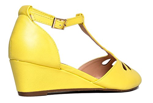 J. Adams Retro Fotled Rem Mary Jane Wedge - Låg Tår Utskuren Pump Sko - Tootie Av Citron **