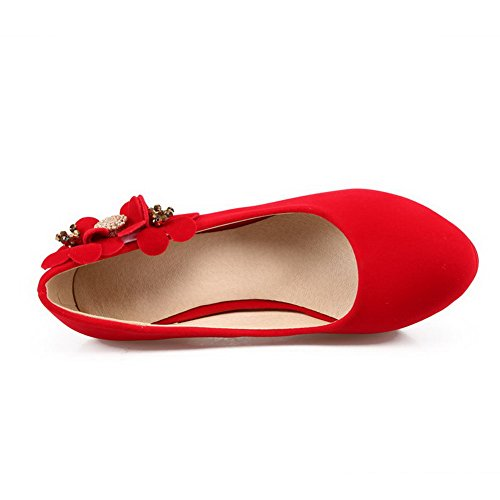 AmoonyFashion Womens Imitated?Suede Solid Pull-on Round Closed Toe High-Heels Pumps-Shoes Red FQDvEu1zW