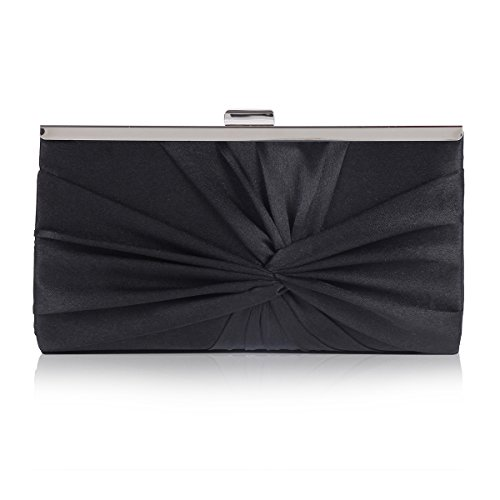 Damara Womens Feminine Knotted Satin Pleat Evening Clutch Bag Black