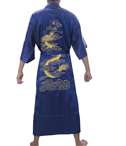 SexyTown Long Satin Lounge Bathrobe Classic Print Embroidery Kimono Robe Nightgown (Large, Dark Navy)