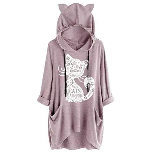 ZEFOTIM Blouse Long Sleeve Shirt, Women Long Sleeve Gradient Color Cat Ear Hooded Sweatshirt Pullover TopBlouse