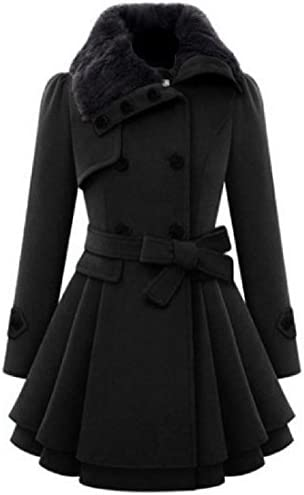 Aprilley Womens Double Breasted Fur Collar Outerwear Thicken Pea Coat