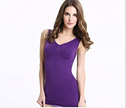 ef7bc36af3c Top Shapers Cami Shaper by Genie Removable Pads Vest Slim Up Lift Shaper Tank  Top Women Slimming Shapewear Underwear Purple (S 40kg-48kg) - - Amazon.com