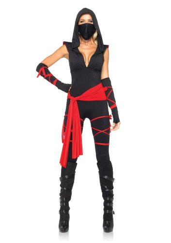 Ninja Costumes Adult (Leg Avenue Women's 5 Piece Deadly Ninja Costume, Black/Red, Medium)