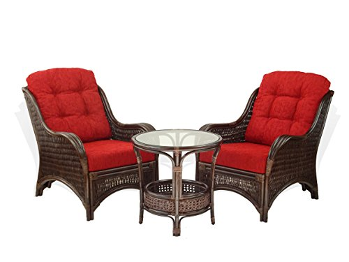 Jam Set of 2 Natural Rattan Wicker Chairs with Burgundy Cushions and Round Coffee Table w/Glass ECO Handmade, Dark - Table Patio Round Eco