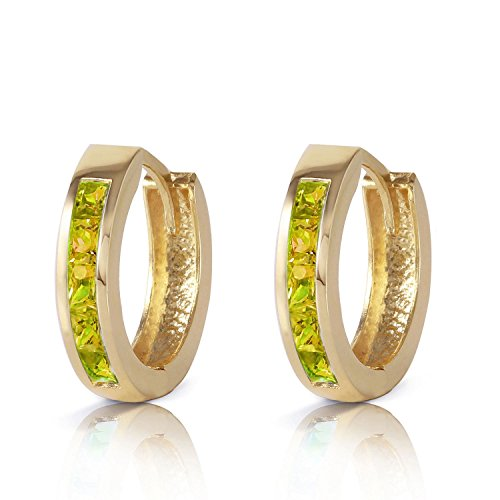 ALARRI 1 Carat 14K Solid Gold Hoop Huggie Earrings Peridot