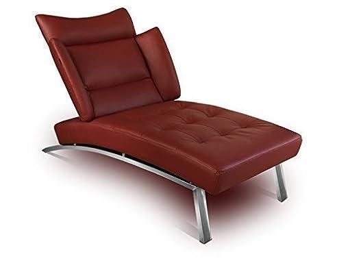 Bauhaus Daybed Chaiselongue Lounge Sessel Relax Liege Couch Sofa Echtleder,  Fuß Edelstahl Poliert.