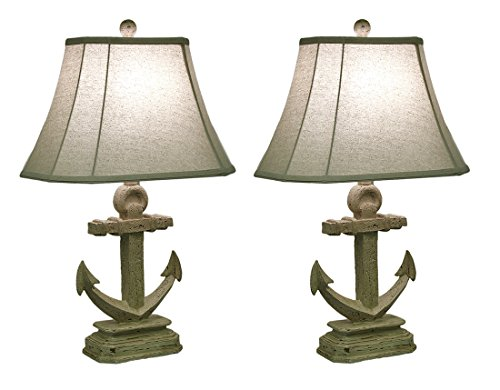 2 Piece Off-White Nautical Anchor Table Lamp Set w/Fabric Shade