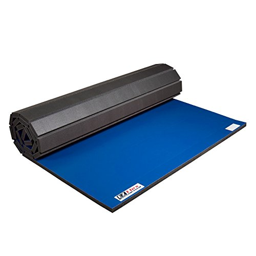 IncStores Roll Out Wrestling and Tumbling Mats (Blue, 5 ft x 10 ft x 1-1/4 in)