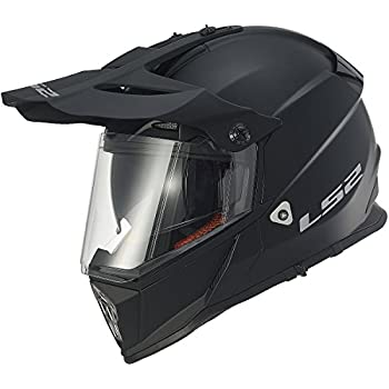 LS2 Helmets Pioneer Solid Adventure Off Road Motorcycle Helmet with Sunshield (Matte Black, Large