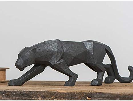Fablcrew Resina Bianco Pantera Scultura Ornamentale Scultura Geometrica Resina Leopardo Statua Fauna Decorazione Regalo Artigianale per casa Ufficio 48 * 10.5 * 15CM