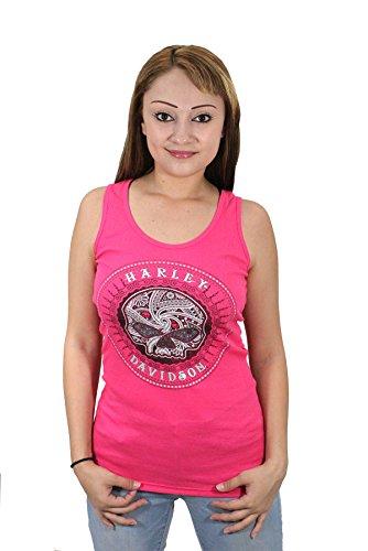Harley-Davidson Womens Willie G Calavera Sugar Skull Circle Pink Tank