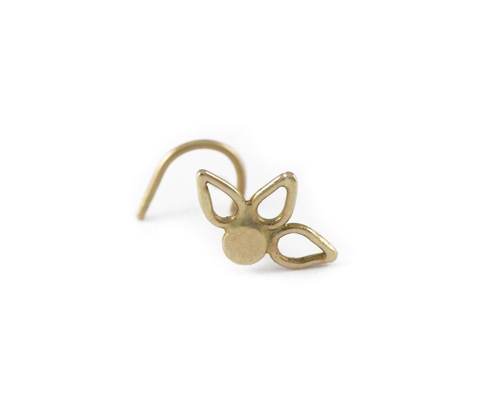 Studio Meme Handmade Nose Studs available in solid 14k Gold 16 Gauge