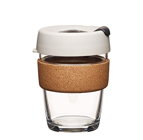 KeepCup 12oz Reusable Coffee Cup. Toughened Glass Cup & Natural Cork Band. 12-Ounce/Medium, Filter